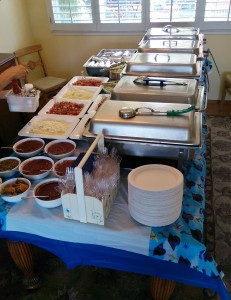 Catered home graduation party with taco bar
