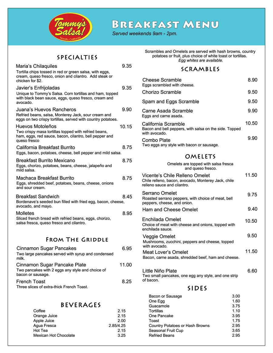 menu - tommy's salsa novato mexican restaurant