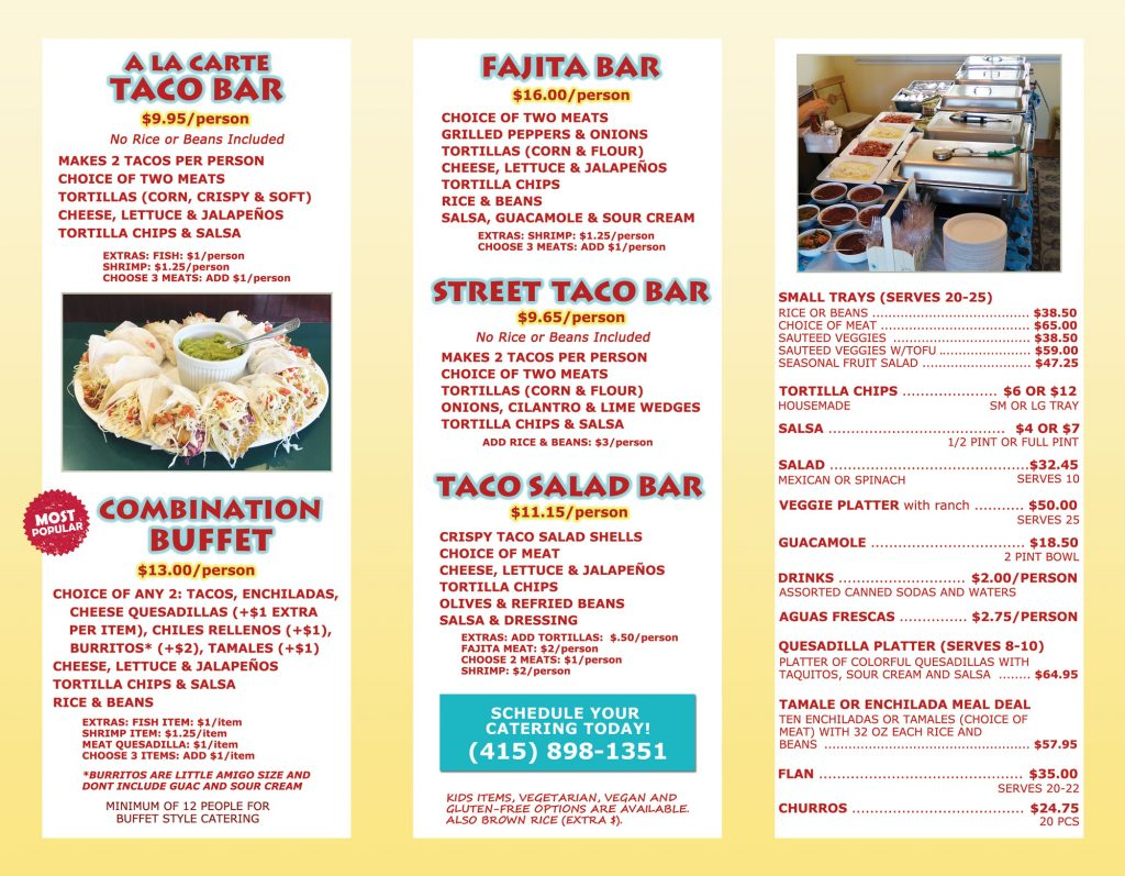 Tommy's Salsa Catering Menu Page 2