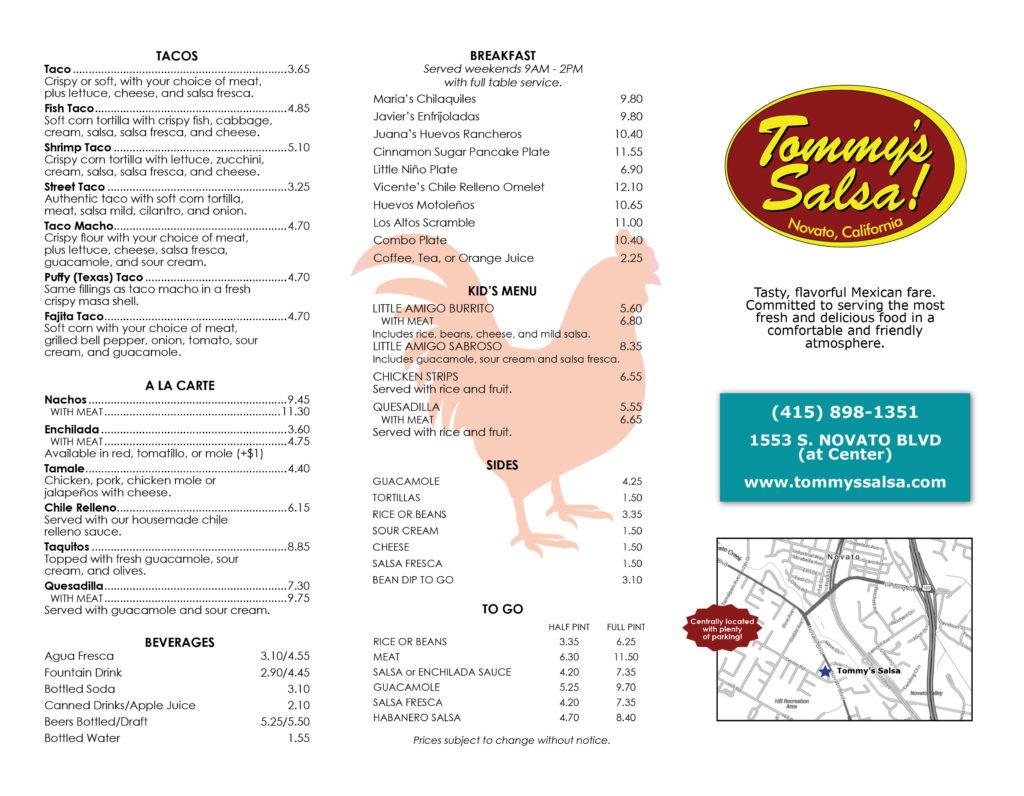 Tommy's Salsa Menu Page 1
