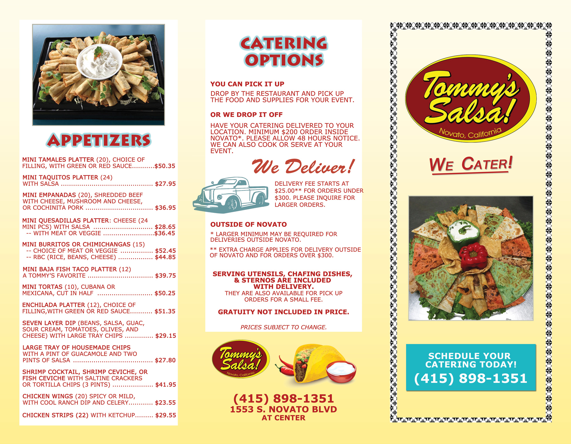 Tommy's Salsa Catering Menu Page 1